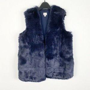 Brand New Faux Fur Vest Navy
